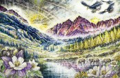 Maroon Bells Illustration Wedding Present