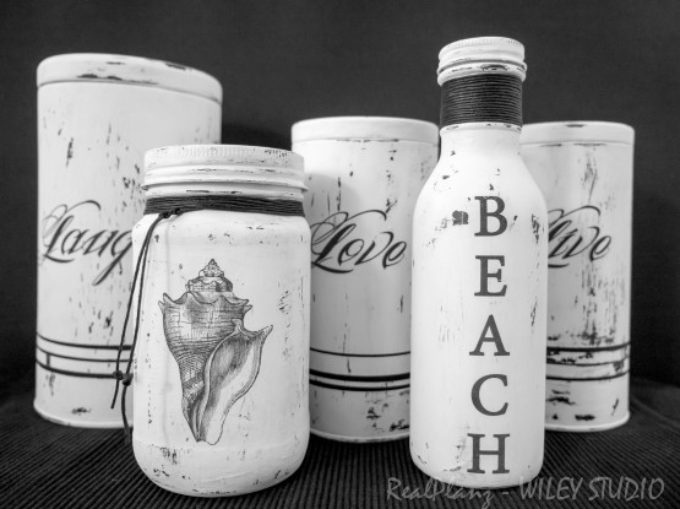 Coastal Decor – More Painted Bottles & Tins