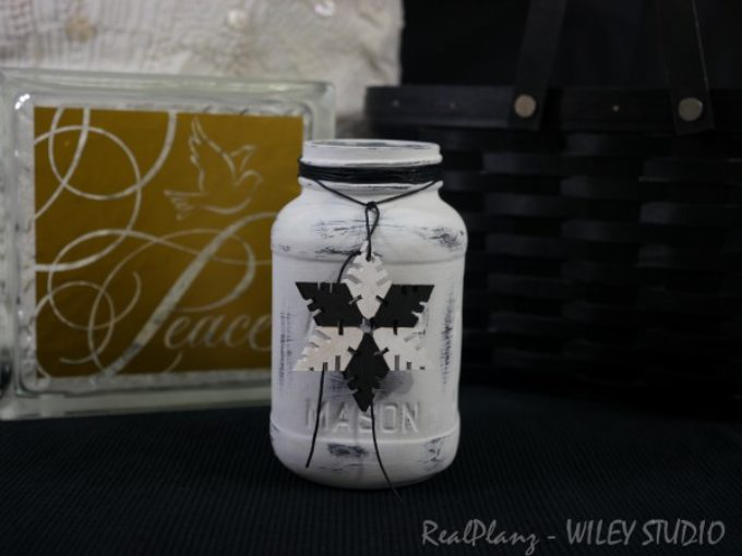 Black & White Painted Bottles and Mason Jar – Christmas Theme