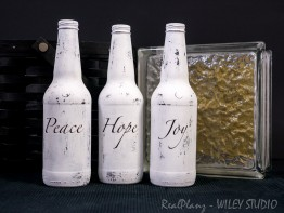Peace Hope Joy Painted Bottles