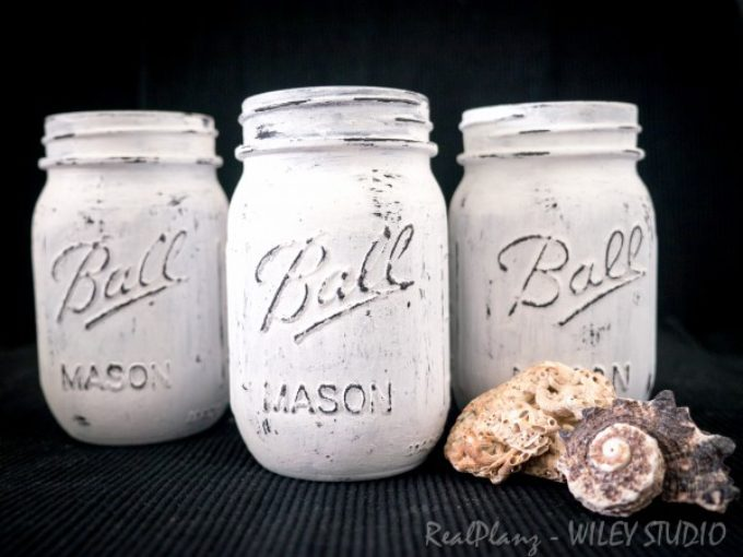 Black & White Painted Mason Jars, Basket & Bottles