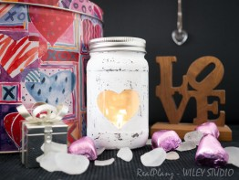 Painted Mason Jar with a Heart Cutout